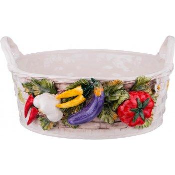 Изделие декоративное корзина с овощами диаметр=44 см высота=22 см