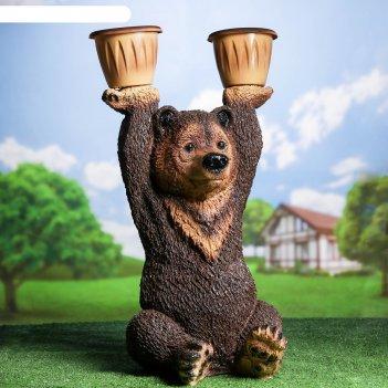 Садовая фигура медведь большой с кашпо 30х40х75см