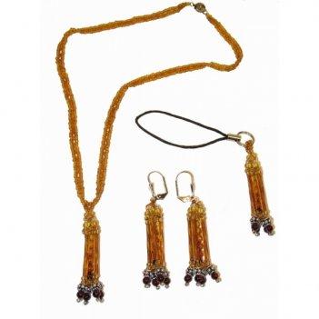 Кулон, серьги и подвеска для мобильного телефона из янтаря