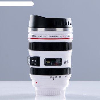 Термокружка 400мл в виде фотообъектива, белая, 8*16