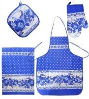 Тк-239-a набор 4 пр. фартук, рукавица, прихватка, полотенце (лен, синий)