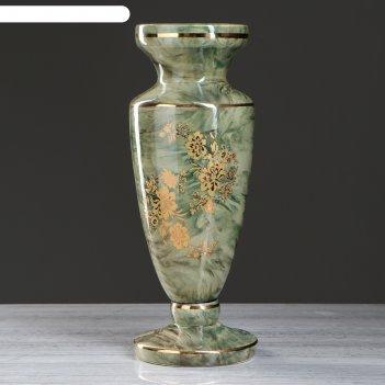 Ваза напольная диона роспись, малахит зелёный, декор