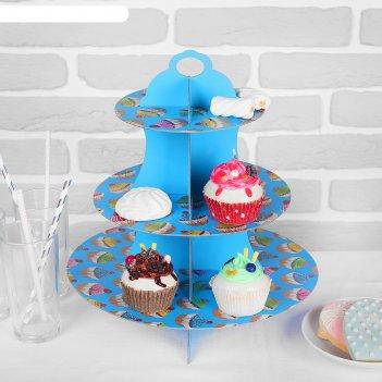 Подставка для пирожных трехъярусная бисквит