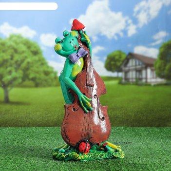 Садовая фигура лягушка с контрабасом 46 см