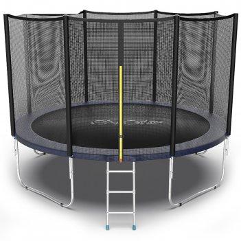 Батут с внешней сеткой и лестницей evo jump external, диаметр 12ft (синий)