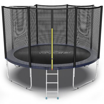 Батут evo jump external 12 ft, d=366 см, с внешней сеткой и лестницей, син