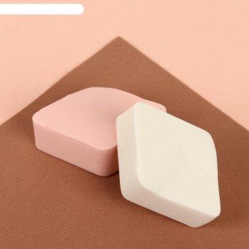 Набор спонжей для макияжа, 2 шт, цвет белый/розовый