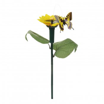 Декор садовый на солнечной/пальчиковой батарее 38см бабочка на цветке микс