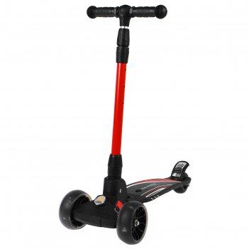 Самокат стальной fy-d2b, колёса pu d=130 мм, abec 7, свет, цвет красный