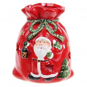 Подсвечник керамика мешочек дедушки мороза 10х7,2х9 см