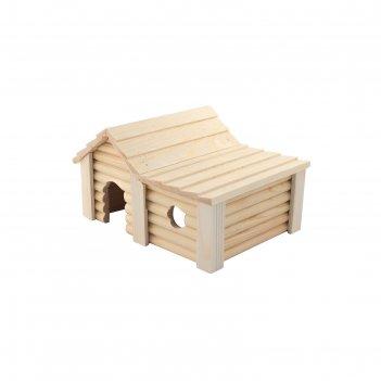 Домик для грызунов с пристройкой, 22 х 17 х 12 см, массив дерева