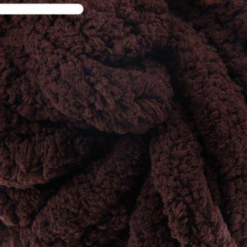 Пряжа фантазийная 100% полиэстер softy plush maxi 250 гр 22 м тёмный шокол