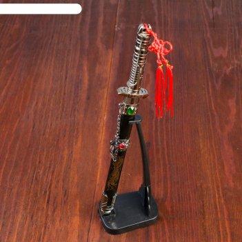 Мини-катана сувенирная на подставке, на ножнах дракон, рукоять в форме све