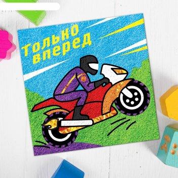 Фреска песком мотоцикл + блёстки и фольга