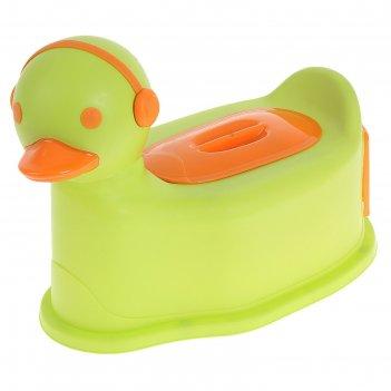 Горшок детский уточка с крышкой, съемный горшок, цвет зеленый