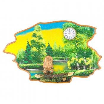 Часы с картиной сова лето 50х32 см