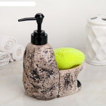 Дозатор для моющего средства с подставкой для губки гранит