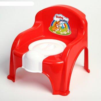 Горшок-стульчик с крышкой, цвет красный