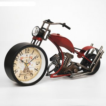 Часы настольные ретро мотоцикл, 32х15х10 см, микс