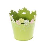 Кашпо оцинкованное цветочки 12*12 см, салатовое