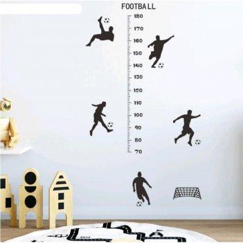 Наклейка пластик интерьерная чёрная ростомер футболисты 30х90 см
