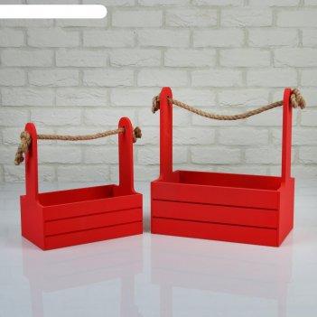 Набор кашпо деревянных 2 в 1 (25x15x30; 21x12x23 см) dear, ручка канат, кр