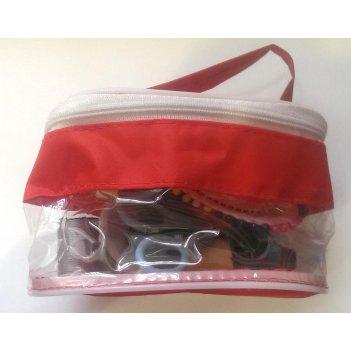 Дорожный набор в пластик.сумочке красный
