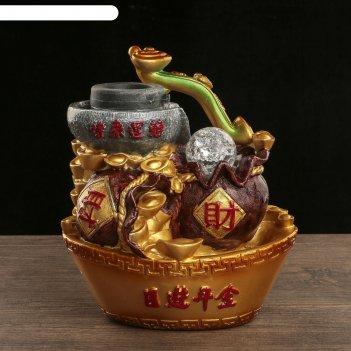Фонтан настольный полистоун 220в жезл жуи и слитки золота 27х18х21 см