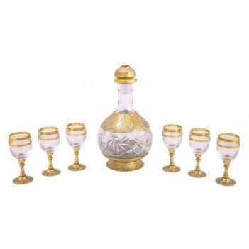 Набор водочный очарование (графин, 6 рюмок, поднос)  златоуст