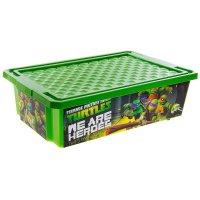 Ящик для игрушек на колесах черепашка ниндзя 30 л, с крышкой, цвет зеленый