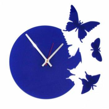 Часы порхающие бабочки синие  cl104с 28х28см