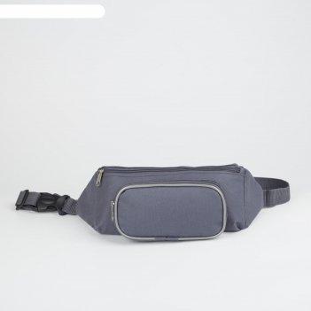 Сумка поясная на молнии, 1 отдел, наружный карман, цвет серый