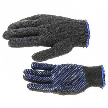 Перчатки хлопкоэфирные плюшевые, пвх точка, 7 кл, 55 гр россия сибртех