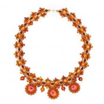 Ожерелье из натурального янтаря и бисера