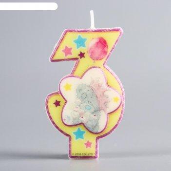 Свеча в торт цифра 3 me to you, цветком, 4 х 7 см