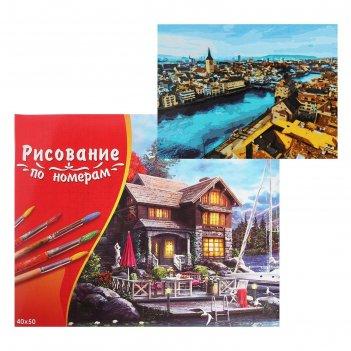 Картина по номерам 40x50 см в коробке, 20 цветов «цюрих. городской пейзаж»