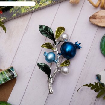 Брошь ветвь черничная, цвет зелено-голубой в серебре