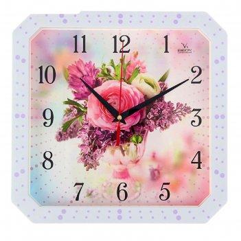 Часы настенные, серия: цветы, роза и сирень, белая рамка, 28х28 см