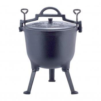 Казан чугунный  15л с крышкой kamille на ножках для приготовления пищи на