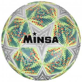 Мяч футбольный minsa, размер 5, pu, 400 г, 12 панелей, машинная сшивка