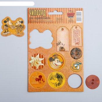 Чипборд вырубной для скрапбукинга винтаж, микки маус