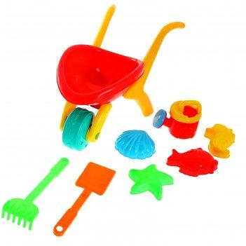 Песочный набор тачка 8 предметов: тележка, лейка, лопатка, грабли, 4 формо
