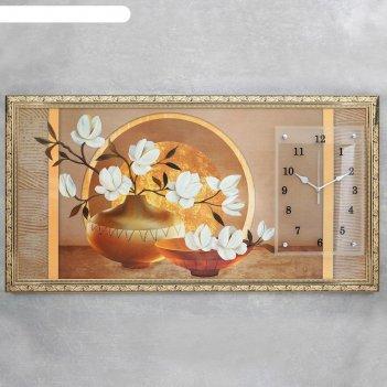 Часы-картина настенные, серия: цветы, две вазы с цветами, 50х100  см, микс