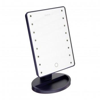 Зеркало косметическое marta mt-2654, 16 светодиодов, от батарек 4хаа, цвет