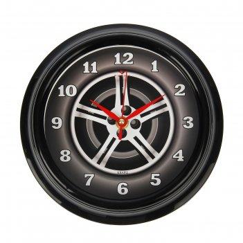 Часы настенные колесо, рубин, 21х21 см