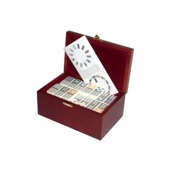 Rt-2555 домино профессиональное d12 в деревянной шкатулке с флоком
