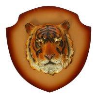 Панно голова тигра цветной, щит бежевый