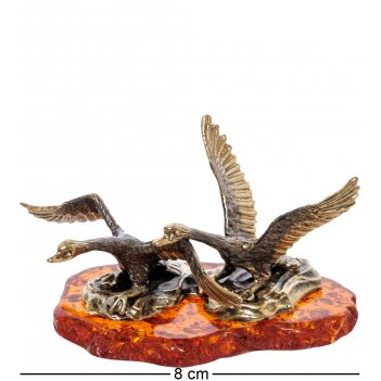 Am-2247 фигурка лебеди  (латунь, янтарь)
