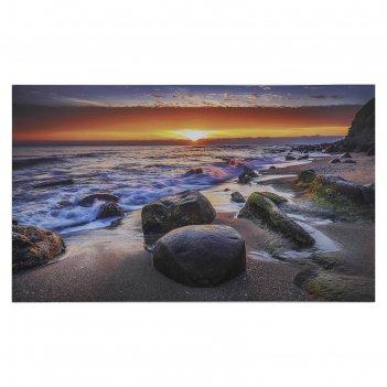 Картина на холсте морской закат 60х100 см