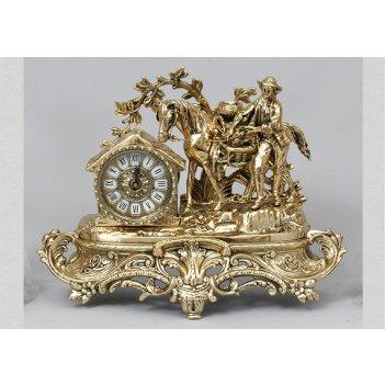 Часы из бронзы virtus охотник с трофеями золото 33х42см 5682